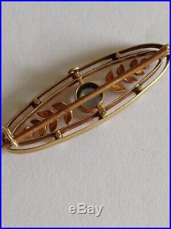 Antique Victorian 15ct Gold Aquamarine & Natural Seed Pearl Set Brooch