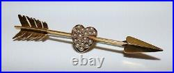 Antique Victorian 15ct Gold Cupid's Arrow Brooch Pearl Pave Set Heart Gorgeous