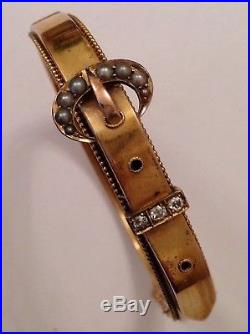 Antique Victorian 15ct Gold Diamond & Seed Pearl Set Buckle Hinged Bangle