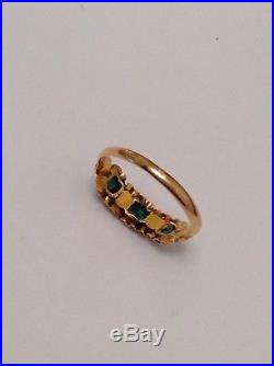 Antique Victorian 15ct Gold Natural Emerald & Seed Pearl Set Ring