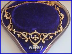 Antique Victorian 15ct Gold Seed Pearl Set Necklace c1880 In Antique Case