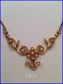 Antique Victorian 15ct Gold & Seed Pearl Set Necklet