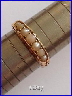 Antique Victorian 18ct Gold Pale Coral & Seed Pearl Set Ring Circa 1880