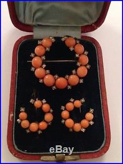 Antique Victorian 9ct Gold Natural Coral & Seed Pearl Set Brooch & Earring Suite