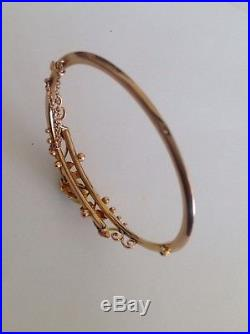 Antique Victorian 9ct Gold Ruby & Seed Pearl Set Hinged Bangle