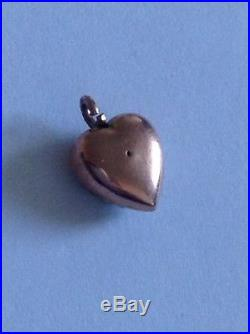 Antique Victorian 9ct Rose Gold & Seed Pearl Pave Set Heart Pendant