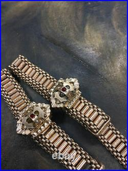Antique Victorian Double Wedding Bracelet Set Rubies Seed Pearls Gold Filled