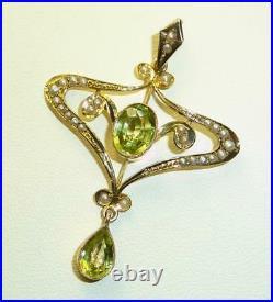 Antique Victorian/Edwardian 9carat 9k Gold Peridot & Seed Pearl Set Pendant