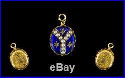 Antique Victorian Gold Enamel Star Set Diamond & Pearl Photo Locket Pendant