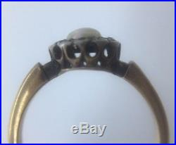 Antique Victorian Pearl & Diamond Cluster Ring Band Set In 18ct Yellow Gold