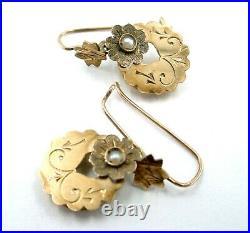 Antique Victorian Sweet Pearl Set Disc 10k Gold Drop Earrings