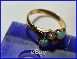 Antique Vintage 10k Gold Claw Set OPAL & PEARL Filigree Gemstone Ring Free Ship