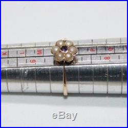 Antique late Victorian pearl & amethyst 9 ct gold daisy set ring size N