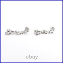 Art Deco 14k White Gold Pavé and Buttercup Set 1ctw Diamond Dangle Drop Earrings