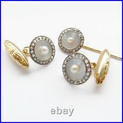 Art Deco Diamond Cufflinks 18ct Gold Pearl with Cravat Stick Pin Wedding Groom