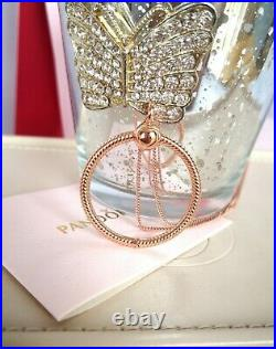 Authentic Pandora 14k Rose Gold Medium O Pendant Necklace & Charm Set 388256