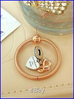 Authentic Pandora 14k Rose Gold Medium O Pendant Necklace & Charm Set 388256 New