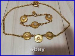 Authentic Vintage Celine Gold Pearl Necklace & Bracelet Set Shipping Free