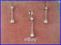 BEAUTIFUL SOLID 14K WHITE GOLD DIAMOND DROP EARRINGS w MATCHING PENDANT SET
