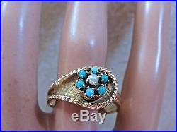 BIG Flower Design Cabochon Turquoise Pearl Ring Set in 14k Gold Not Scrap