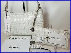 BRAHMIN Pearl ANYTIME MINI BAG + CREDIT CARD WALLET 2 PC SET White NWT