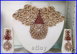 BRIDAL ruby CRYSTAL Pearl jadau gold CHOKER NECKLACE dangler EARRINGi SET