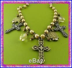 BRIGHTON DEVOTION ISABELLA CROSS Necklace Bracelet Earring NWtag SET Pouch $234