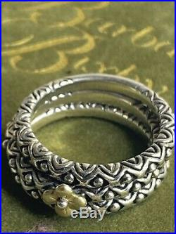 Barbara Bixby Set of 3 Bead Design Stack Sterling Silver 18K Gold Ring Size Sz 7