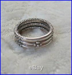Barbara Bixby Set of 3 Bead Design Sterling Silver 18K Gold Stack Ring Size 8
