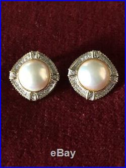 Beautiful 1 Carat Diamond and Pearl Earrings Set in 14K Gold Plus Appraisal