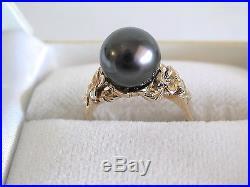Beautiful 11MM Tahitian Black Pearl Set In 14K Yellow Gold Plumeria Ring Size 6