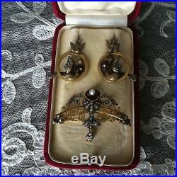 Beautiful 18K Gold Victorian Bird Earrings/Brooch set with Turq, Pearls, Rubies