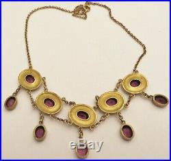 Beautiful Edwardian Gold Filled Bezel Set Amethyst Drop Dangle Necklace