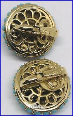 Beautiful Vintage Trifari Gold, Pearl, Garnet & Turquoise Pin & Earrings Set