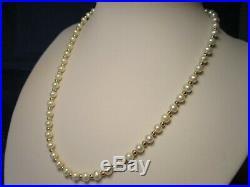 Beautiful Vtg 14k Gold Genuine Cultured Pearl Necklace Earrings Bracelet Set Nos