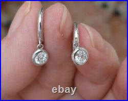 Bezel Set Diamond Drop Earrings 14K White Gold