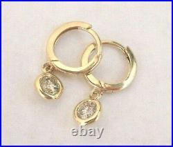 Bezel Set Diamond Drop Earrings 14K Yellow Gold Custom