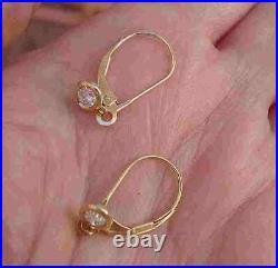 Bezel Set Diamond Drop Earrings 14K Yellow Gold custom made Leverback