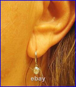 Bezel Set Diamond Drop Hoops Earrings 14K White Gold