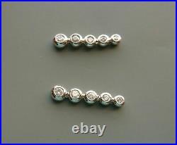 Bezel Set Enagegment Wedding Drop Dangle Earrings 14K White Gold 4.12 Ct Diamond