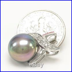 Black Cultured Pearls Earrings & Pendant Set 14K Solid White Gold Diamonds