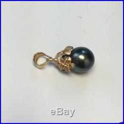 Black Tahitian Pearl Pendant set in 14K Yellow Gold Hibiscus Design Cap Bail