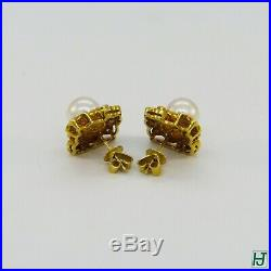 Brand New 8mm Pearl & Diamond Earrings & Ring Set in 18k Yellow Gold, 32 points