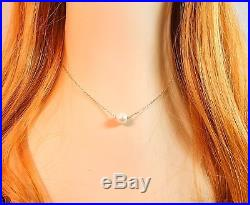 Bridesmaid Gifts- Pretty Single Floating Bridal Pearl Necklace, Gold Color, Set