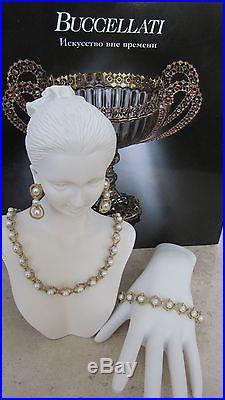 Buccellati 18k Gold Pearl Set Necklace, Earrings, Bracelet. New