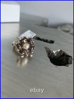 CHANEL Camellia Flower Ring Sz 7 Pearl & Brown Enamel 11A NWT Full Set AUTH