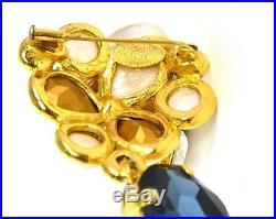 CHANEL Vintage'86 Crystal Brooch & Earrings Set