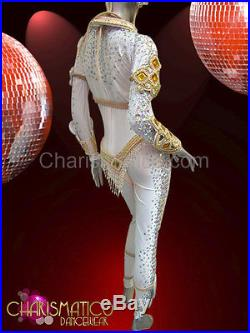 CHARISMATICO Nude toned Diva samba costume set with amber and pearl accents