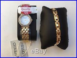 CITIZEN LADIES GOLD-TONE WATCH BOXED SET DIAMOND Model EJ6102-64D