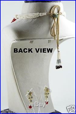CZ Polki Kundan Rectangular Pendant Treated Red Coral Pearls String Necklace Set